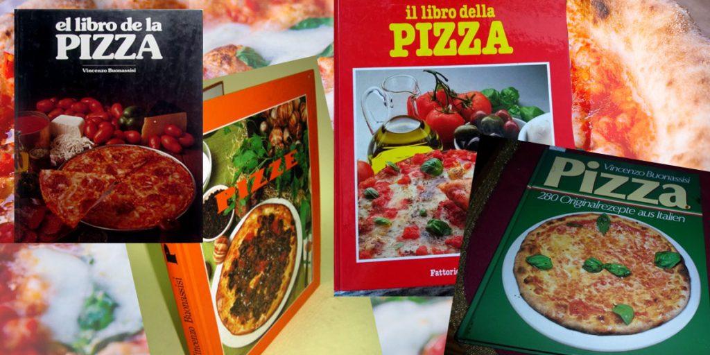 Capas de algums edições do livro Il libro della Pizza, de Vincenzo Buonassisi